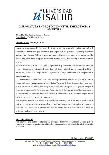 diplomatura en proteccion civil, emergencia y ambiente.