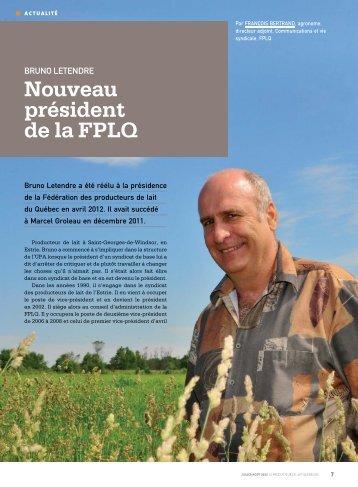 Nouveau président de la FPLQ - Fédération des producteurs de lait ...