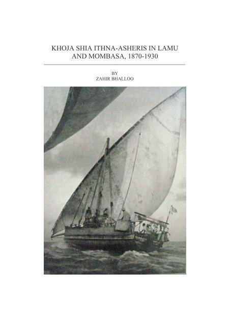KHOJA SHIA ITHNA-ASHERIS IN LAMU AND MOMBASA, 1870-1930