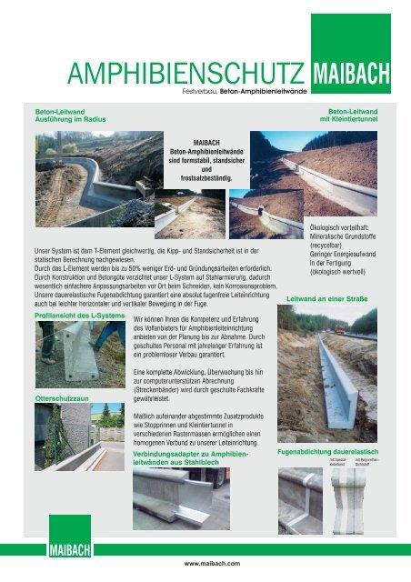 Amphibienschutz Festverbau, Betonleitwände