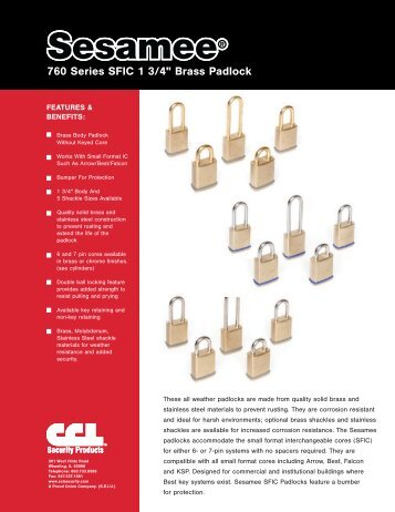 "760 Series SFIC 1 3/4"" Brass Padlock"