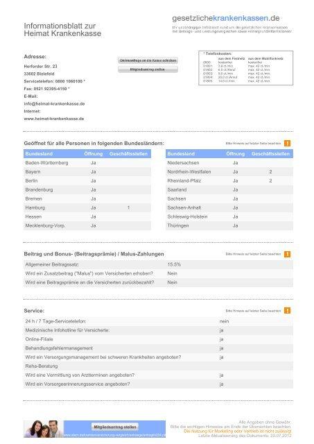 Informationsblatt Zur Heimat Krankenkasse