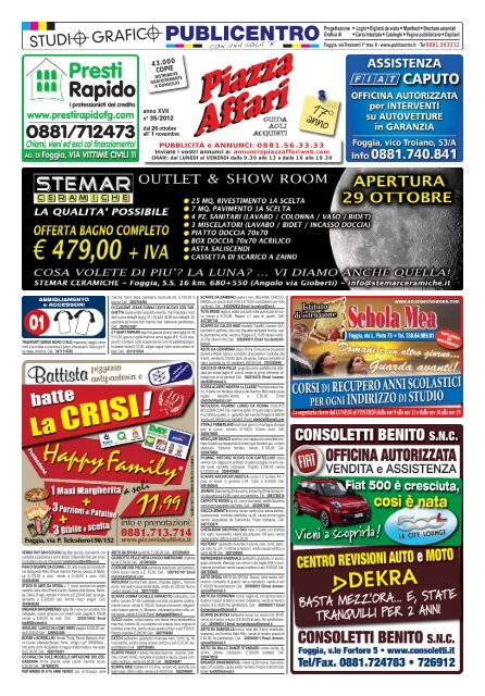 avviso ai lettori venerdì 9 novembre 2012 piazza affari