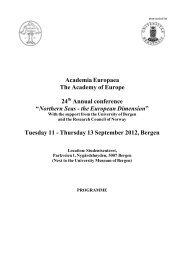 Tuesday 11 - Thursday - Academia Europaea