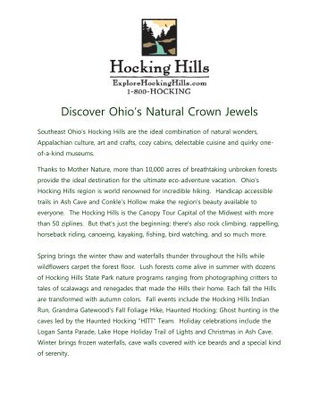 Hocking Hills TA Profile - Ohio Has It!