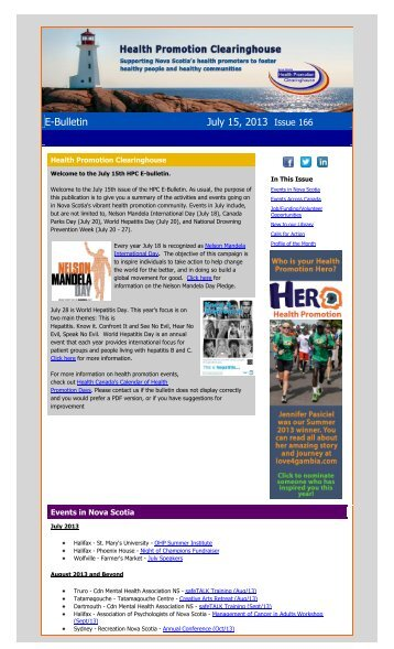 View the latest E-Bulletin - Health Promotion Clearinghouse