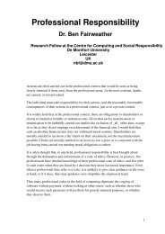 Professional Responsibility - Centre for Computing and Social ...
