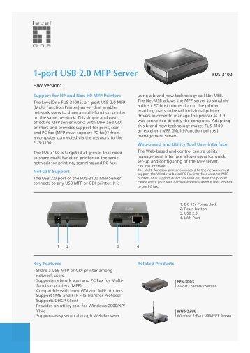 LevelOne FUS-3100 1-port USB 2.0 MFP Server