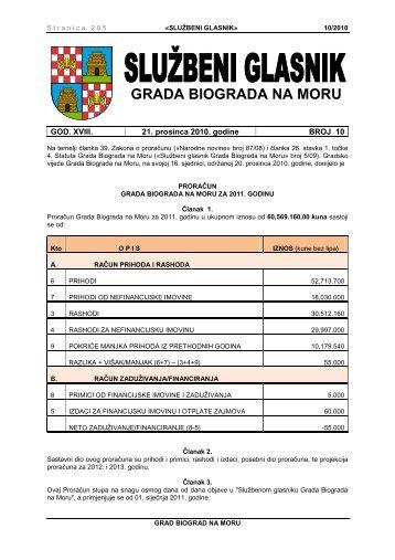 Službeni glasnik Grada Biograda na Moru - broj 10/2010