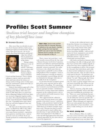 Profile: Scott Sumner - Plaintiff