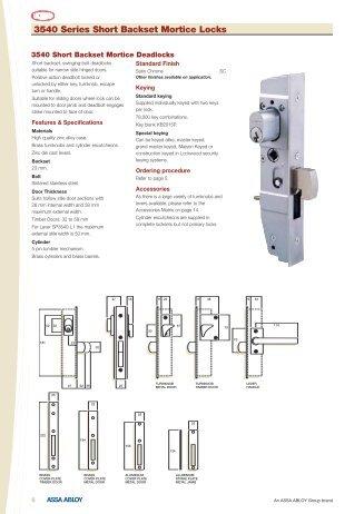 3540 Series Short Backset Mortice Locks - Hardware Direct