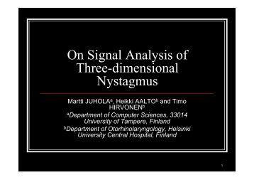 On Signal Analysis of Three-dimensional Nystagmus