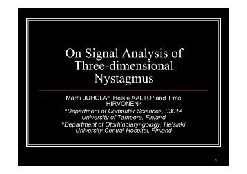 On Signal Analysis of Three-dimensional Nystagmus