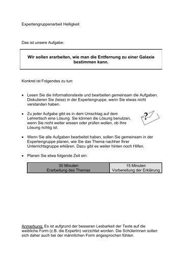 Arbeitsblätter Expertengruppe - Didaktik der Physik
