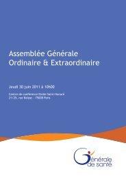 Assemblée Générale Ordinaire & Extraordinaire - Générale de Santé
