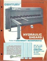 Cincinnati Hydraulic Shears MDL 2h10, 2h12, 4h10 & 4h12 Brochure