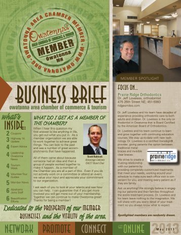 May 2013 - Owatonna Chamber of Commerce and Tourism