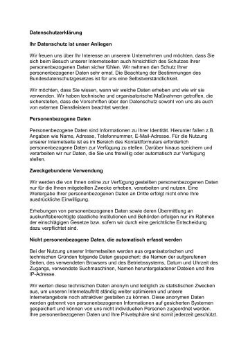 Ihr Datenschutz ist unser Anliegen - www.birichter.de