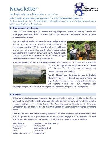 Newsletter - Ingenieure ohne Grenzen