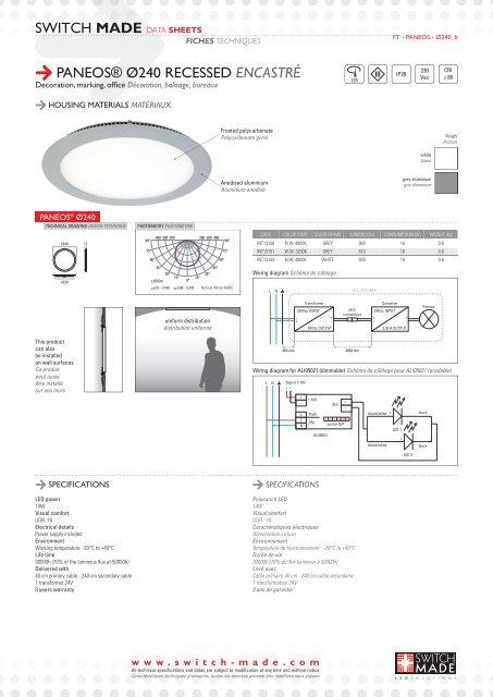 switch made data sheets paneos® ø240 recessed encastré