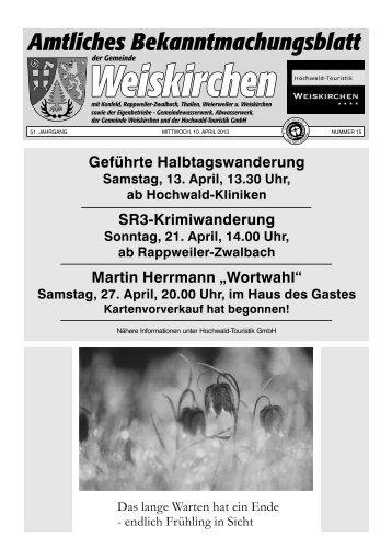 Mitteilungen der Hochwald- Touristik GmbH Weiskirchen