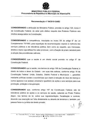 Recomendação - Xingu Vivo