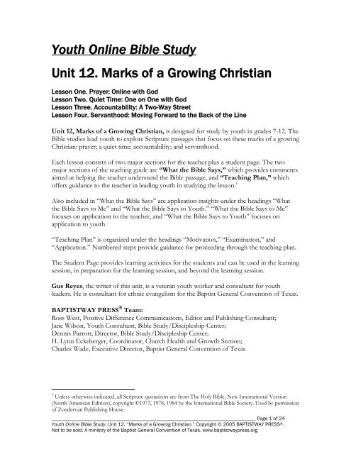 unit marks of a growing christian baptistway press