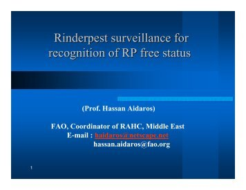 Rinderpest surveillance for recognition of RP free ... - Middle East - OIE