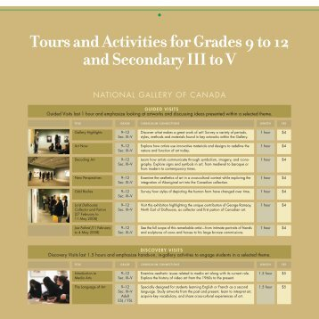 Tours and Activities for Grades 9 to 12 and Secondary III to V