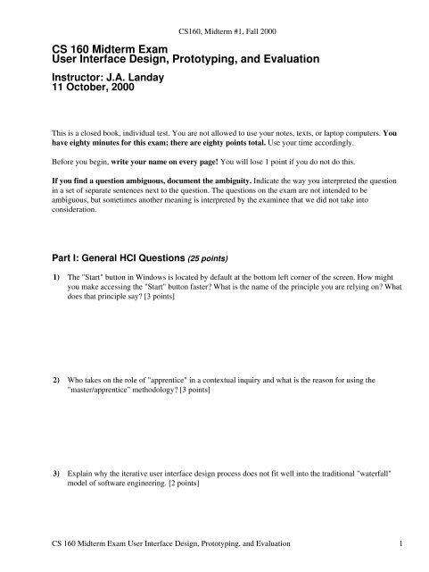 Cs 160 Midterm Exam User Interface Design Prototyping Hkn