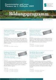 Zusatztermine und neue Themen im 2. Halbjahr 2009 - Deutsche ...