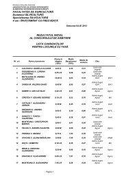 Lista candidaţilor pentru locurile cu taxă - Facultatea de Agricultură