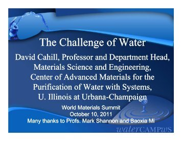 The Challenge of Water - University of Illinois at Urbana-Champaign