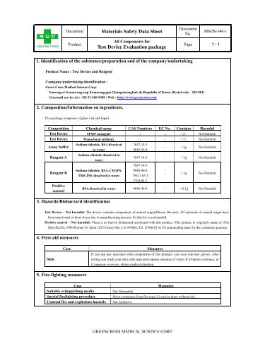 Materials Safety Data Sheet Test Device Evaluation package
