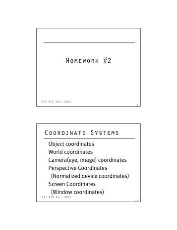 Homework #2 Coordinate Systems