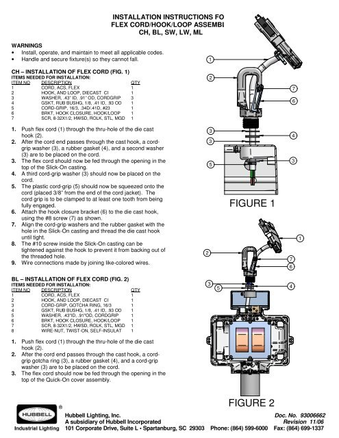 ACS Flex Cord Install Instructions - Hubbell Industrial Lighting
