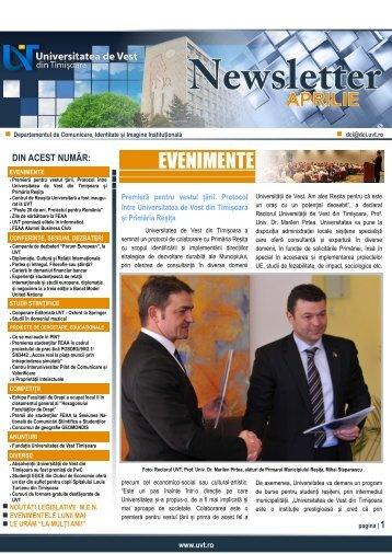 NEWSLETTER APRILIE 2013 - Departamentul de Comunicare ...
