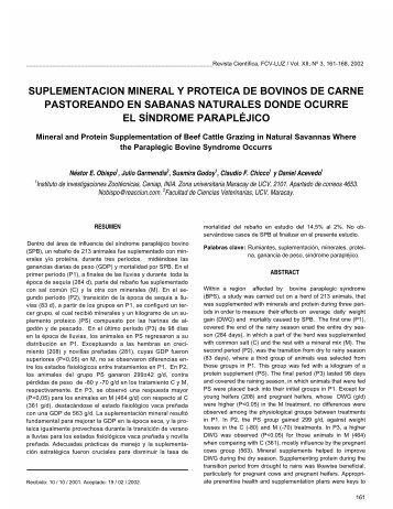 suplementacion mineral y proteica de bovinos de carne - Saber ULA