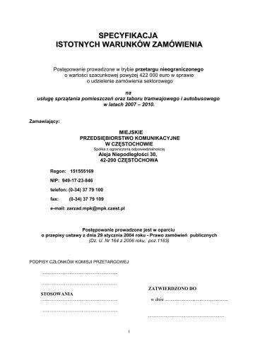 siwz - BIP - MPK w Częstochowie Sp. z oo