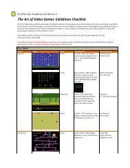 The Art of Video Games Exhibition Checklist - Smithsonian ...