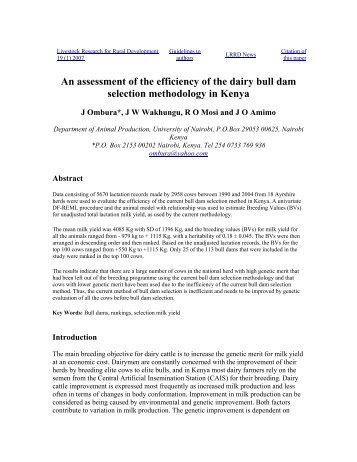 An assessment of the efficiency of the dairy bull dam selection ...