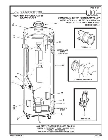 ao smith water heater parts manual