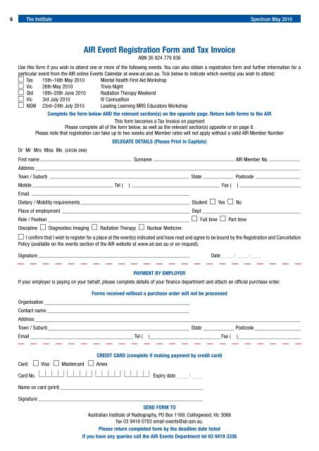 Air Event Registration Form And Tax Invoice Minnis Journals
