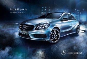 A Class Price List   Mercedes Benz UK