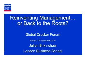 Reinventing Management… or Back to the Roots?