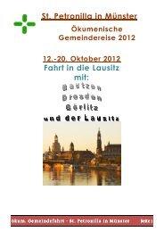 St. Petronilla in Münster Fahrt in die Lausitz mit: