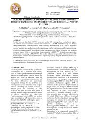 increase resistance to deoxynivalenol in transformed tobacco ...