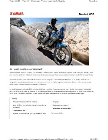 Ténéré 660 - Yamaha Motor de México