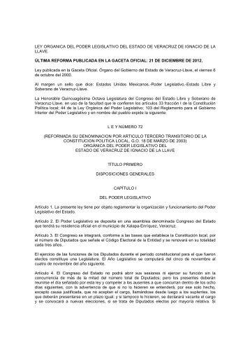 ley organica del poder legislativo del estado de veracruz de ignacio ...