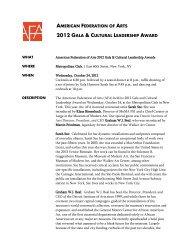 Gala Fact Sheet - American Federation of Arts